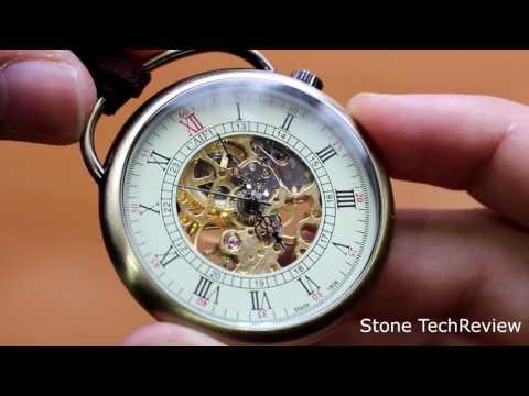 Unboxing XLORDX Retro Handaufzug mechanische Taschenuhr Skelett Uhr Metall mit Etui Langeband