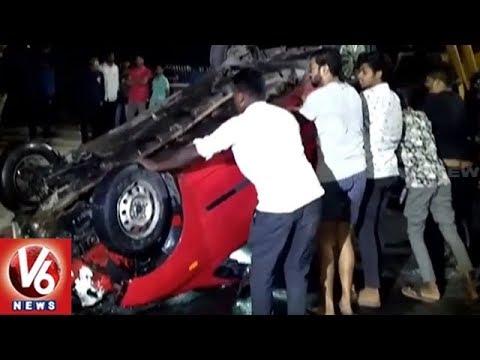 Speeding Car Rammed Into Hussain Sagar, 4 Injured | Hyderabad | V6 News