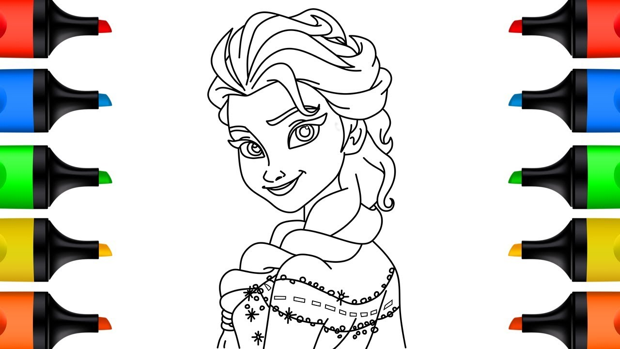 How to Draw Elsa Coloring Pages Learn Colors Video for Kids and Toddlers