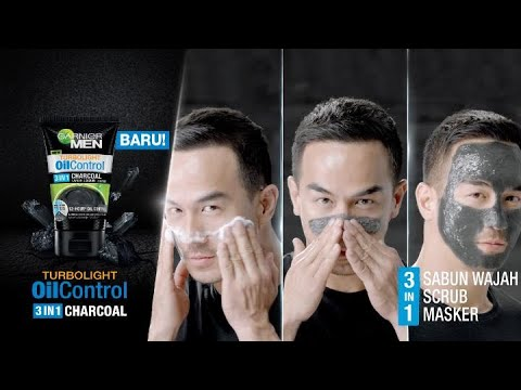 Garnier Men Turbo Light Oil Control 3 in 1 Charcoal - Tiga Fungsi, Satu Produk