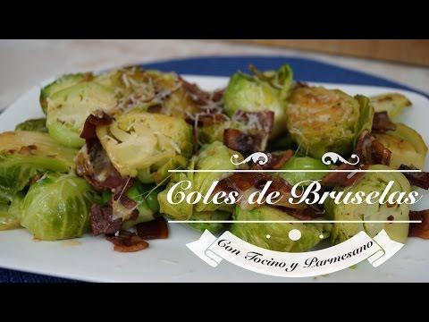Coles de Bruselas con Tocino y Queso Parmesano - Mi Cocina Rápida