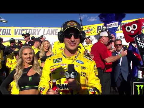 Victory Lane: Joey Logano celebrates Vegas win