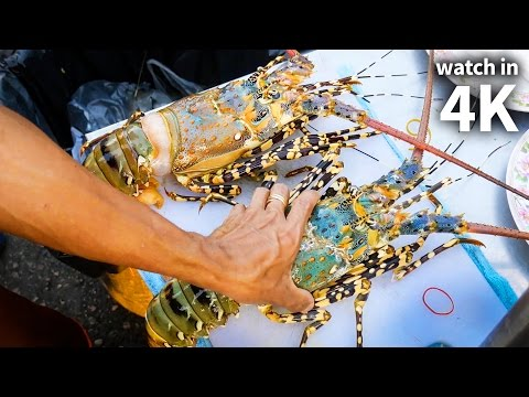Eating Giant SPINY LOBSTER and Tiger Shrimp - Thailand Street Food with Trevor James [Watch in 4K]!