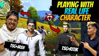 FREE FIRE || PLAYING WITH OUR REAL LIFE CHARACTERS || BEST FUNNY GAMEPLAY - TWO SIDE GAMERS