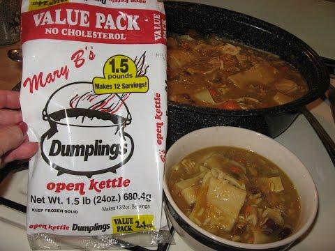 CHICKEN SOUP using Mary B's OPEN KETTLE DUMPLINGS, CHICKEN STEW w/ DUMPLINGS, leftover roast chicken