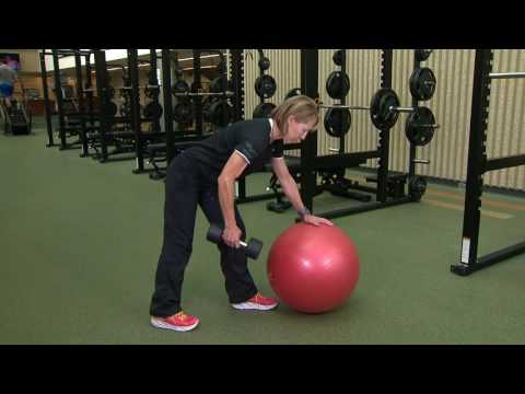 Exercise Ball One Arm Dumbbell Extension