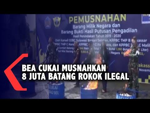 bea cukai musnahkan juta batang rokok ilegal di makassar