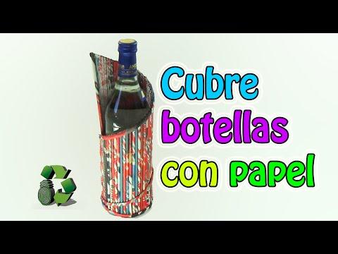 169. Manualidades: Cubre botellas con tubitos de papel (Reciclaje de papel periodico) Ecobrisa