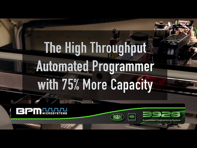 The 3928: The Small Footprint/High Throughput Automated Programmer with up to Seven Sites/28 Sockets