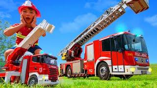 Feuerwehrauto, Traktor & Bagger Geschichten mit Spielzeug für Kinder