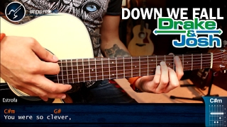 Como tocar Down We Fall en Guitarra Acustica | Tutorial COMPLETO Version Original DRAKE & JOSH