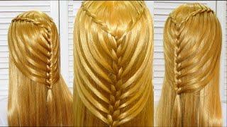 Прическа в школу с плетением на длинные и средние волосы.Hairstyle for school.