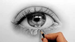 Timelapse | Drawing, Shading A Realistic Eye And Teardrop With Graphite Pencils | Emmy Kalia