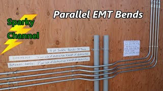 How To Make Parallel EMT Bends with 4 Point Saddle Bends and 90° Stubs