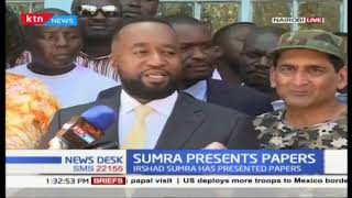 Irshad Sumra who seeks to contest for ODM Embakasi South by elections presents his papers to IEBC