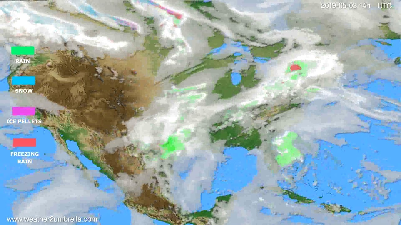 Precipitation forecast USA & Canada // modelrun: 12h UTC 2019-05-01