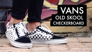 checkerboard vans old skool on feet