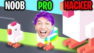 Can We Go NOOB vs. PRO vs. HACKER In CROSSY ROAD!? (Let's Play CROSSY ROAD!)