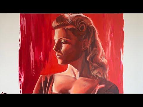 Shosanna Dreyfus de Malditos Bastardos timelapse óleo sobre lienzo en 4K