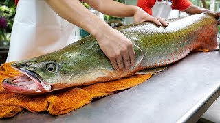 Thai Food - GIANT RIVER MONSTER Amazon Fish Ceviche Bangkok Seafood Thailand