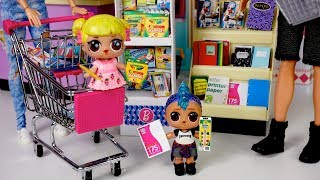 Barbie Family LOL Goldie & Punk Boi School Supply Shopping - Supermarket Toy