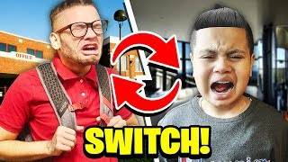 SWITCHING LIVES WITH MY LITTLE BROTHER FOR 24 HOURS!!! **I WENT TO KAYLENS SCHOOL FOR A DAY!** 😱