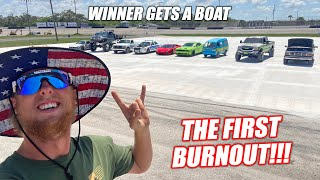 Building the Freedom Factory a GIANT Burnout/Drift Pad GRAND FINALE!!! (First Burnout Competition)