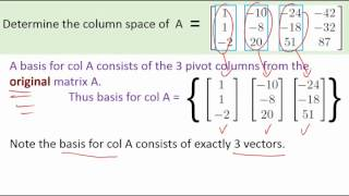 A quick example calculating the column space and the nullspace of a matrix.