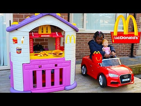 Kids Pretend Cooking Food Play With Mcdonalds Drive Thru | Driving Power Wheel Car