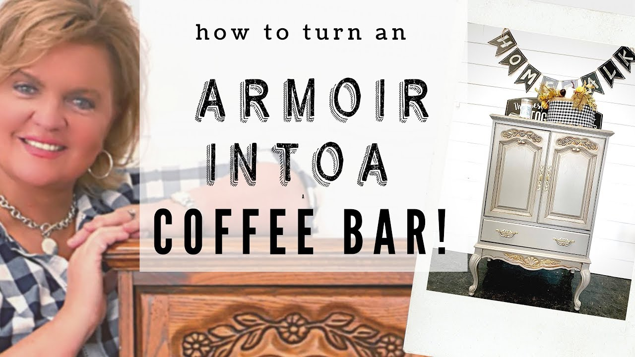 SEE How We Turned an Unwanted TV ARMOIRE into a FUN COFFEE BAR! Using ALL-IN-ONE PAINT!