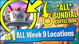 DANCE ON A SUNDIAL, OVERSIZED CUP OF COFFEE, GIANT METAL DOG HEAD (Fortnite Season 7 Week 9)