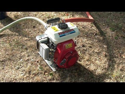 Benzin Wasserpumpe Honda WB 10 Aufbau und Kaltstart, 4-stroke water pump set up and cold start