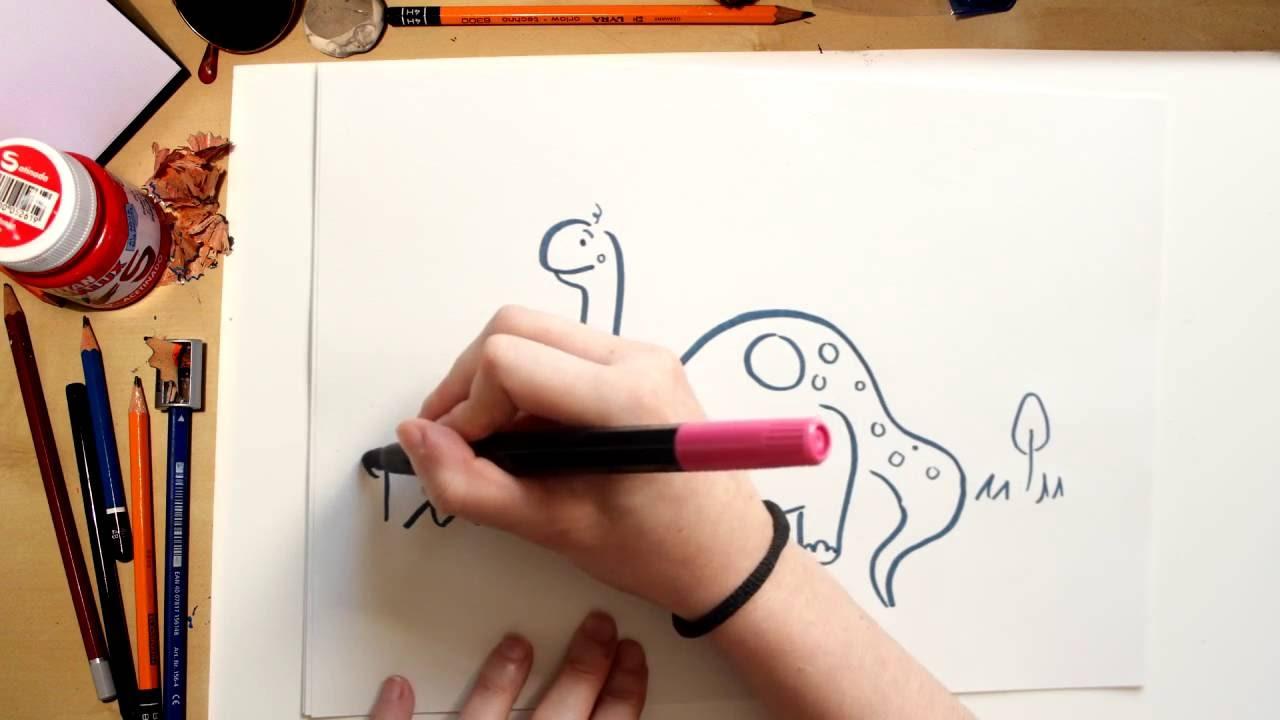 Como dibujar un Branchiosauro - dibujos de dinosaurios para niños