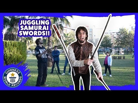 Juggling Samurai Swords World Record