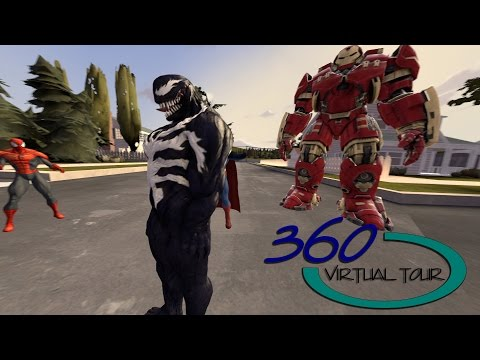 [360 vr video] Spider Man, BatMan, SuperMan, Ironman Marvel Hero