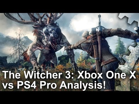 [4K] The Witcher 3: Xbox One X vs PS4 Pro Graphics Comparison + Frame-Rate Test