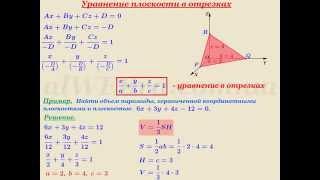 """Видеоурок """"Уравнение плоскости в отрезках"""" фото"""