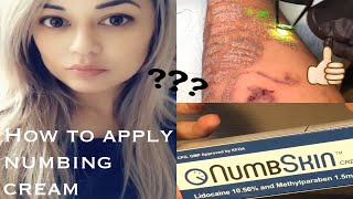HOW TO APPLY NUMBING CREAM PROPERLY - using NumbSkin lidocaine 10.56% for tattoo removal