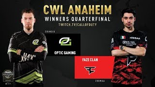 Optic Gaming vs FaZe Clan | CWL Anaheim 2019 | Winners Quarterfinal