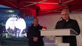 preview picture of video 'Leverkusen: SparkassenKugel eingeweiht (05.12.2014)'