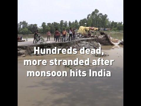 A monsoon slams into India leading to major flooding