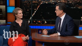 Cynthia Nixon slams Cuomo during Colbert interview