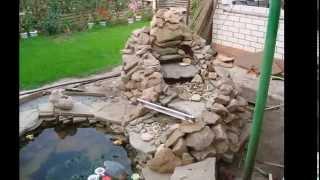 Пруд с водопадом своими руками видео