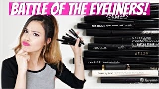 BATTLE OF THE EYELINERS! BEST & WORST of High-End vs. Drugstore vs. Asian Liquid Liners!
