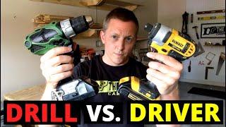 DRILL VS. DRIVER (What's The Difference?!! Cordless Drill Vs. Impact Driver--COMPARISON)