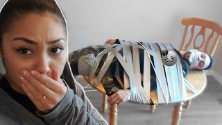 STRONGEST DUCT TAPE EVER TABLE ESCAPE CHALLENGE!! **I BROKE UP WITH MY BOYFRIEND PRANK**