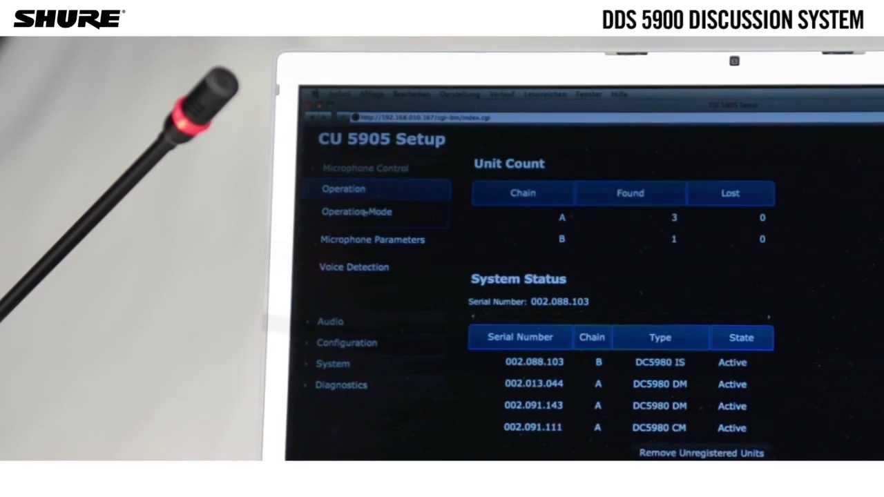 Setting up the DDS 5900 digital discussion system: Web browser