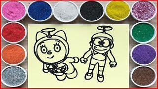 ĐỒ CHƠI TÔ MÀU TRANH CÁT NOBITA & DOREMI - Colored sand painting nobita doremi chim xinh