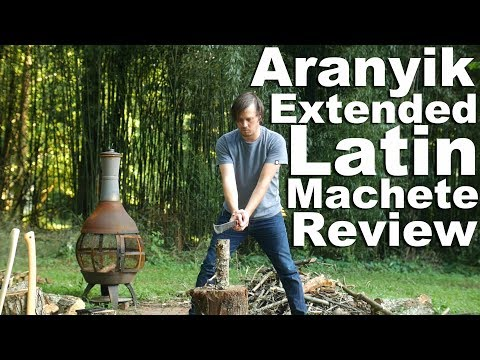 Aranyik Extended Latin Machete Review.  Plus extra long chopping test vs Ontario 18″
