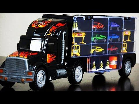 Truck Transport Car Carrier Die Cast Model Cars Cones & Signs Roadblocks Kids Favorite Fun Toy